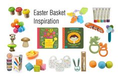 Easter Basket Inspiration by thegreennursery on Polyvore featuring BabyLit, Aden and Anais, Sophie the Giraffe, PlanToys, HABA, Eco Kids Art Supplies
