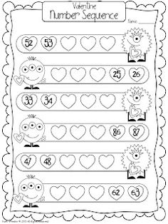 Valentine Monsters Number Sequencing Freebie