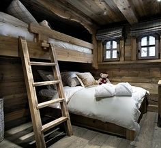 Chalet Interior with Warm Wood Decoration Ideas and Modern Home Appliances : Cozy Bedroom With White Pillows Facing Wooden Storage Under Tv Applied In The Chalet Interior Design Chalet Design, Chalet Style, Cabin Interiors, Rustic Interiors, Rustic Bedroom Design, Bedroom Decor, Bedroom Ideas, Wooden Bedroom, Cozy Bedroom