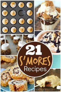 21 Spectacular S'mores Recipes NO CAMPFIRE REQUIRED! S'mores cakes, pies and cheesecakes, S'mores dips, frozen treats and drinks, S'mores cookies, tarts, parfaits and more - Happy Hooligans