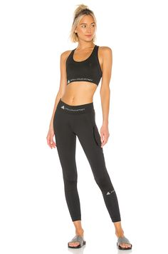 Shop for adidas by Stella McCartney Performance Essentials Bra in Black at REVOLVE. 4 Way Stretch Fabric, Stella Mccartney Adidas, Revolve Clothing, Trendy Outfits, Tights, Sporty, Bra, Sport Body, Clothes