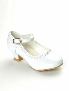 White Rhinestone Detailed Patent Flower Girl Shoes - Girls Shoes - SHOES