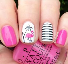 """Fancy pink flamingo manicure by the fabulous @melcisme using our Flamingo Nail Decals & Small Straight Nail Vinyls found at snailvinyls.com The awesome pink polish is OPI's """"Shorts Story"""""""