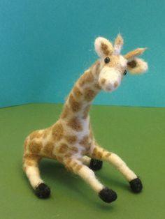 OOAK Needle felted giraffe Christmas gift by weewooleybeasties