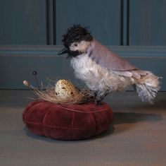 Mohair chickadee pincushion