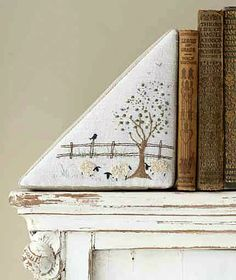 Hand-Stitched Home   Embroidered Bookends   Crafts 'n Things   Free pattern & instructions