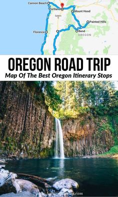 Everything but Crater Lake Oregon Road Trip: Map of the best oregon itinerary stops Road Trip Usa, Oregon Road Trip, West Coast Road Trip, Pacific Coast Highway, Oregon Hiking, Hiking Trails, Oregon Vacation, Oregon Travel, Vacation Spots