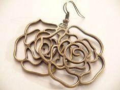 Copper Flower earrings by Eleganceforyou on Etsy, $15.00