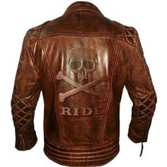 Men's Brando Classic Diamond Biker Leather Jacket With Embossed Skull & Bones Brown Leather Jacket Men, Biker Leather, Leather Jackets, Riding Jacket, Men's Jackets, Skull And Bones, Awesome Stuff, Dragons, Men's Fashion