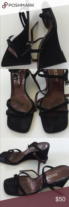 Charles David Black Suede Strappy Wedges Charles David black Suede Sandal Wedges feature strap front with adjustable sling back. Size 9.5. Great condition Charles David Shoes Wedges
