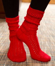 Make Mine Lace Socks Free Knitting Pattern from Red Heart Yarns