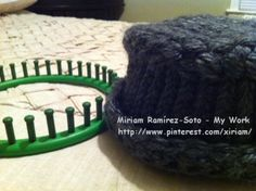 ♥LMW-MRS♥My basket weave Loom Knitted hat. Still not finished, I have to fix the bottom and I wan is to add a flower. This one is for me.