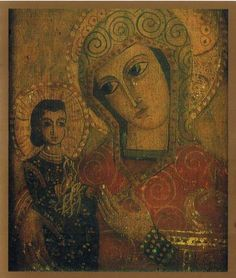 Greek icon of mother and child