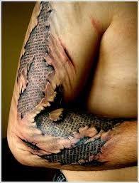 Image result for 3d dark art tattoos of ripping through skin