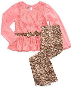 Nannette Kids Set, Little Girls Peplum Top and Leopard Pants - Kids Girls 2-6X - Macy's