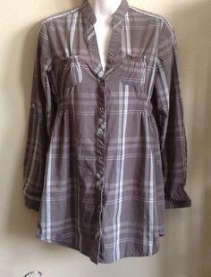 PROTOTYPE WOMEN'S Khaki Plaid Tunic Top Long Sleeve Snap Closures V Neck SMALL