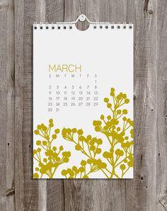 2014 Calendar / Botanical / Wall by ModernPrintedMatter on Etsy, $24.00