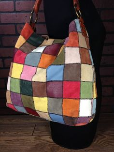 Lucky Brand Handbag Patchwork Leather Tote Bag Shoulderbag Purse Satchel Hobo Luckybrand