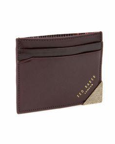 HILLBEN - Metal corner card wallet - Chocolate | Men's | Ted Baker UK