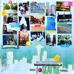 I LOVE SEATTLE scrapbook layout by Paige Evans