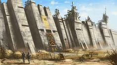 Southern Ramparts by derbz on DeviantArt Futuristic Architecture, Historical Architecture, Art And Architecture, Fallout Concept Art, Game Concept Art, My Fantasy World, Fantasy City, Digital Art Fantasy, Fantasy Artwork