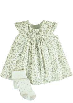 Girls Floral Print Cord Pinafore Dress and Tights (Newborn-18mths)