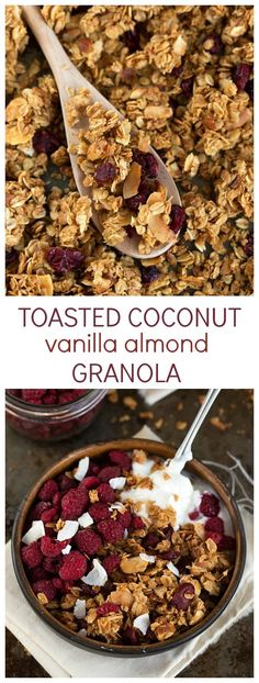 A delicious and healthy (plus super easy) toasted coconut and honey almond clustered granola. This granola is great to top off a parfait, mixed in cereal, or ju Honey Almonds, Raw Honey, Toasted Coconut, Granola Recipe With Coconut, Cooking With Coconut Oil, Coconut Sugar, Love Food, The Best, Healthy Snacks