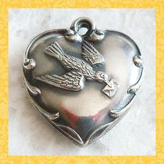 Vintage 1940's Messenger Bird with Love Letter Puffy Heart Sterling Charm