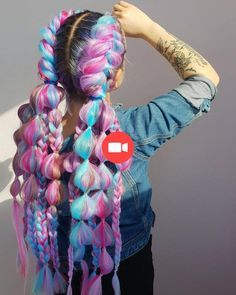 Lunar Tides Hair Colors on Bubbly Braids Super cute puffy pastel braids by hair_pavlova - try our Petal Pink + Amethyst + Cyan Sky for a similar look! Box Braids Hairstyles, Pretty Hairstyles, Hairstyle Ideas, Mermaid Hairstyles, Festival Hairstyles, Crazy Hairstyles, Saree Hairstyles, Cute Braided Hairstyles, Anime Hairstyles