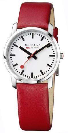 Mondaine Simply Elegant Red Strap - Mondaine Watches - Looking Good - The Good Store Swiss Railway Clock, Lacoste, Swiss Railways, Glass Material, Fashion Watches, Red Leather, Latest Fashion, Watches For Men, Cool Style