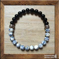 TRANQUILITY: Blue Spot Jasper + Obsidian Yoga Mala Bracelet