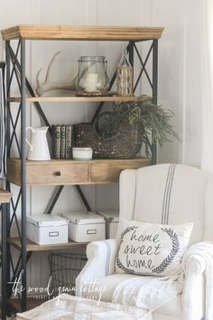 New Living Room Shelving & A Giveaway! - The Wood Grain Cottage. Love the Home Sweet Home pillow Fall Living Room, Big Living Rooms, Home And Living, Living Room Decor, Accent Wall In Kitchen, Dining Room Shelves, Home Decor Inspiration, Shelving, Wood Grain
