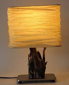 TreibKunst Design Tischlampe aus Treibholz BALTIC SWAN - Unikat Made in Germany, Massives Holz von der Ostsee in Handarbeit – LED – Tischleuchte