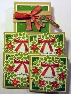 "Crafty Maria's Stamping World: Christmas 3 by 3"" Thank You Notes"