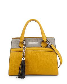 Charles Jourdan Valentina Two-Tone Satchel Bag, Yellow/Gray