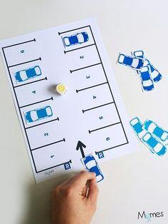 Qui sera le 1er à garer ses voitures ? Le p'tit jeu à imprimer du parking pour 2 joueurs !