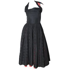 1950s Two Tone Eyelet Halter Dress | From a collection of rare vintage day dresses at https://www.1stdibs.com/fashion/clothing/day-dresses/