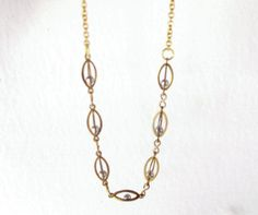 Atom - minimal geometric vintage brass cage links chain necklace