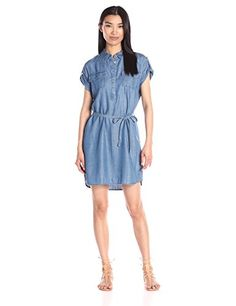 Prime Day Deal - Two by Vince Camuto Women's S/s Shirt Tencel 2pkt Utility Shirtdress