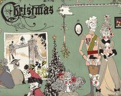 Patchworkstoff FRAU RICHTER, Christmas-Gesellschaft, graugrün-stumpfes hellrot