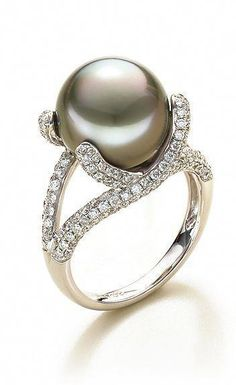 Radient 10mm June Birthstone Cultured Tahitian Black Pearl Ring In Silver Or Gold Pearl