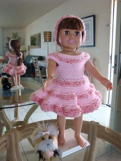 American girl doll clothes - Part 3 Crochet Doll Dress, Crochet Doll Clothes, Knitted Dolls, Doll Clothes Barbie, American Doll Clothes, American Dolls, American Girl Crochet, Doll Dress Patterns, Girl Dolls