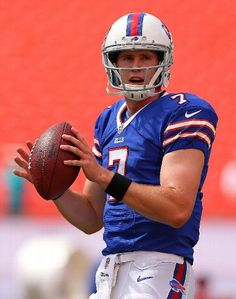 MIAMI GARDENS, FL - OCTOBER 20: Jeff Tuel #7 of the Buffalo Bills warms up during a game against the Miami Dolphins at Sun Life Stadium on October 20, 2013 in Miami Gardens, Florida.