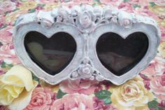 Cottage Chic Heart Frame/ Mother's Day gift/ Vintage Repurposed Shabby Heart Frame/ Victorian Roses Design/ Wedding or Home Decor by UpcycledCottageDecor on Etsy