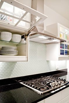 Small Glass Subway Tile Design Ideas, Pictures, Remodel, and Decor Glass Kitchen Cabinets, Glass Cabinet Doors, Kitchen Cabinet Doors, Kitchen Backsplash, Upper Cabinets, Cupboard Doors, White Cabinets, Cupboards, Glass Door