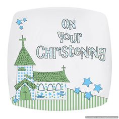 Personal Touch Gifts - Blue Christening Church Plate, £15.99 (http://personaltouchgifts.co.uk/blue-christening-church-plate/)