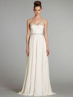 A-line Spaghetti Straps Chiffon Sweep Train White Beading Wedding Dresses at Millybridal.com