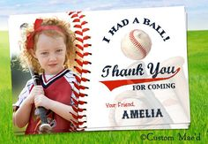Baseball Favor Tags or Thank You Card  personalized by customaed, $9.00