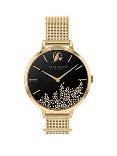 Sara Miller Sara Miller Leaf Collection Black Satin And Gold Detail Dial Gold Stainless Steel Mesh Strap Ladies Watch in One Colour Christmas Gifts For Girlfriend, Perfect Christmas Gifts, Stainless Steel Mesh, Stainless Steel Bracelet, High Leg Boots, One Color, Colour, Long Toes, Black Satin