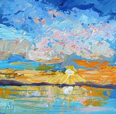 Impressionist Landscape Painting  Sunset 3 by by artbymarion